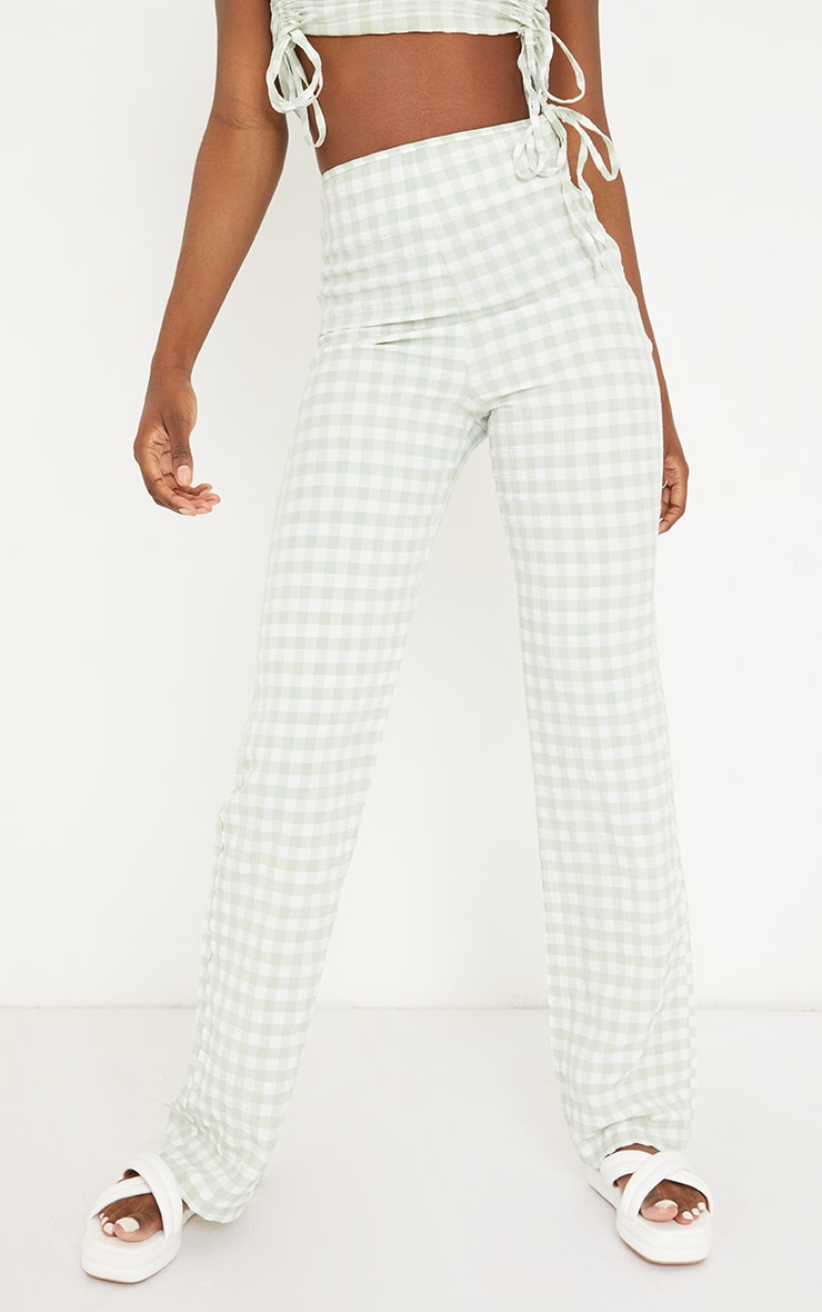 Tall Green Gingham Tie Side Trousers 2