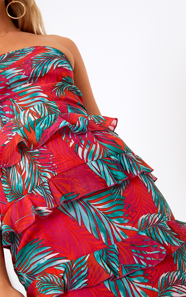 Hot Pink Tropical Print Ruffle Detail Midi Dress 5