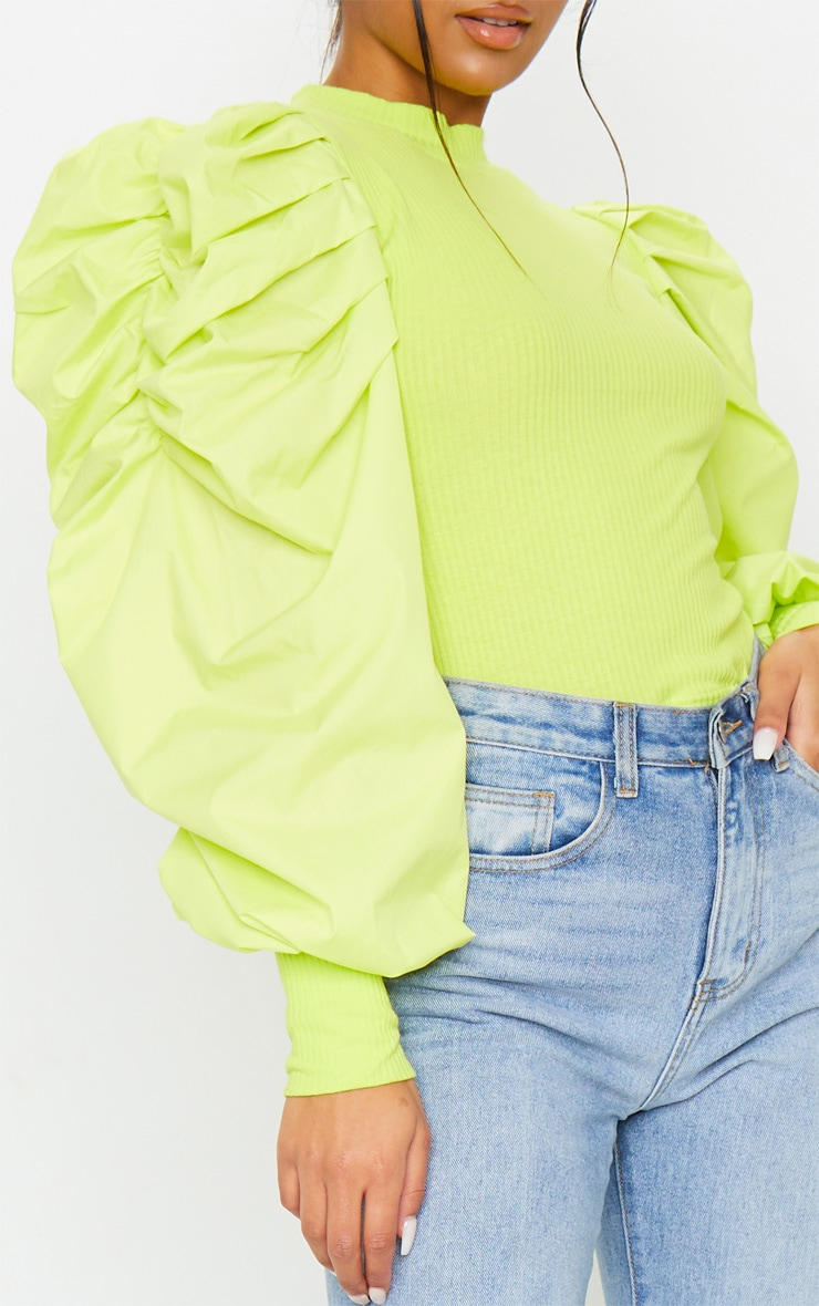 Lime Green Pleated Sleeve Jersey Rib Top 4
