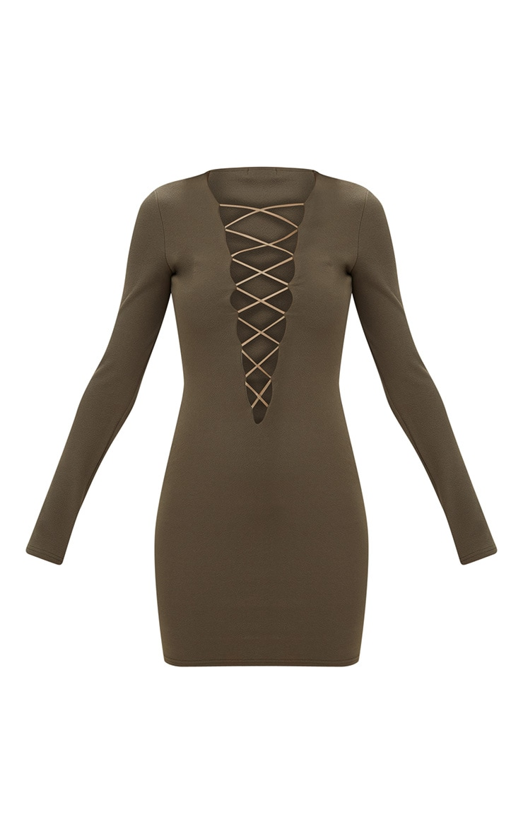 Olive Green Extreme Plunge Lace Up Bodycon Dress 3