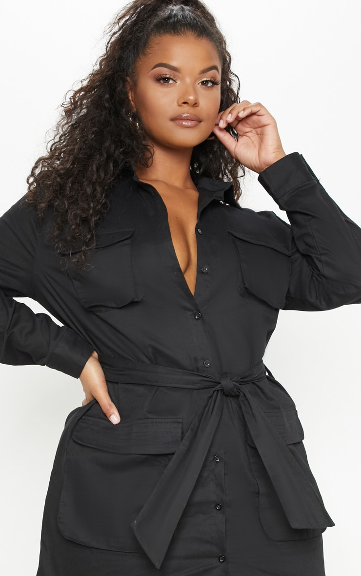 9621d939a3 Plus Black Utility Shirt Dress | Plus Size | PrettyLittleThing