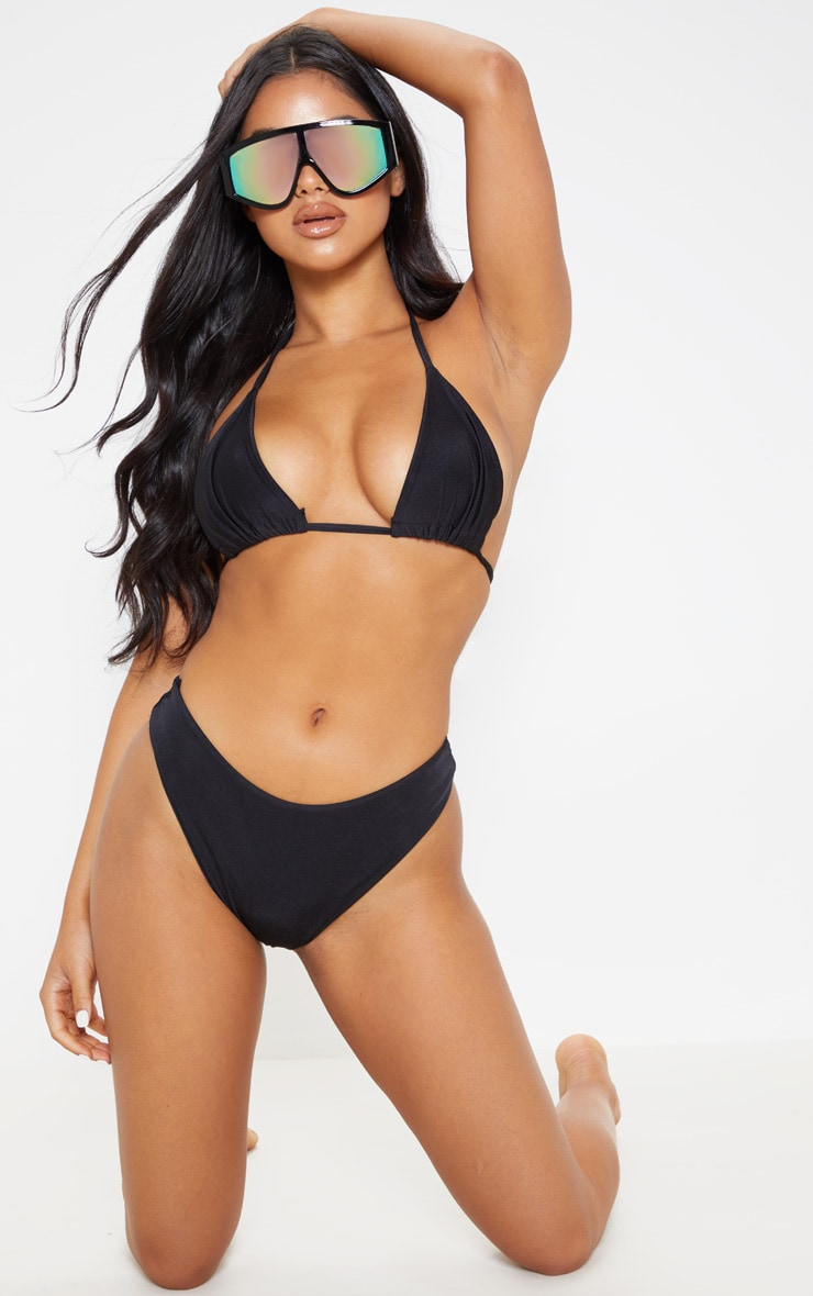 Petite Black Mix & Match Triangle Bikini Top 4