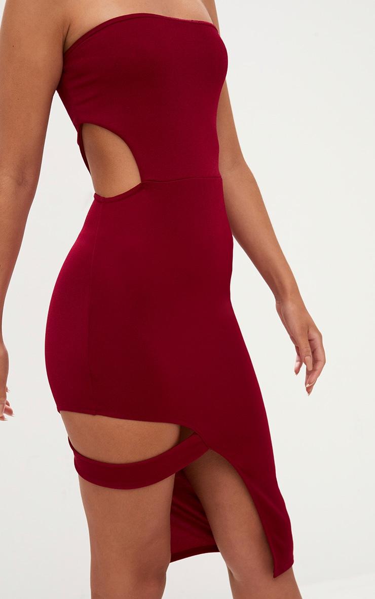 Burgundy Cut Out Detail Bandeau Midi Dress 5