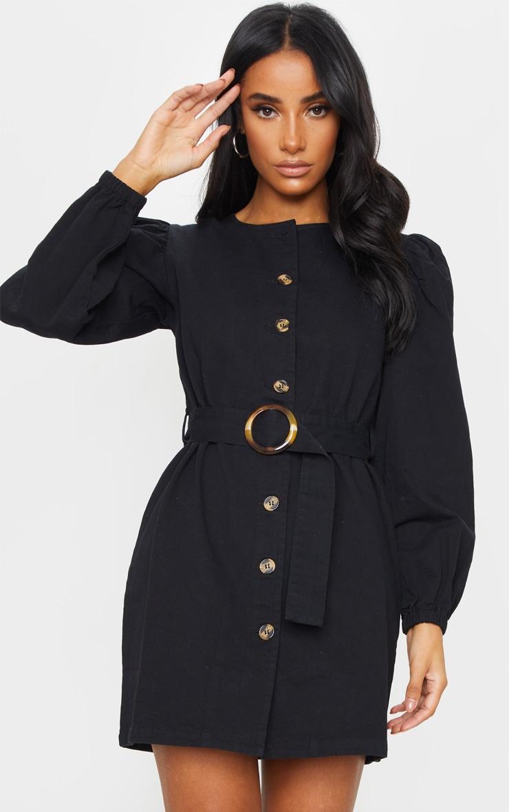 Black Button Through Balloon Sleeve Belted Denim Dress 3