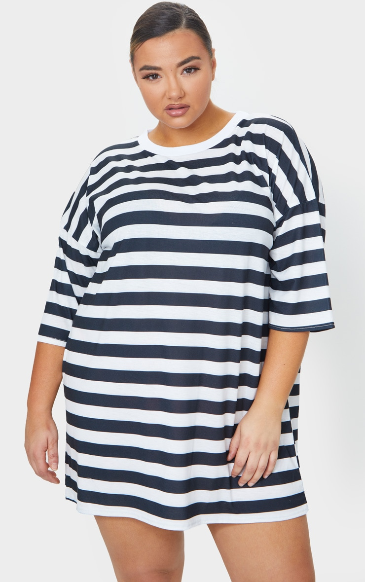 Plus Black Contrast Stripe Oversized Boyfriend T Shirt Dress 1
