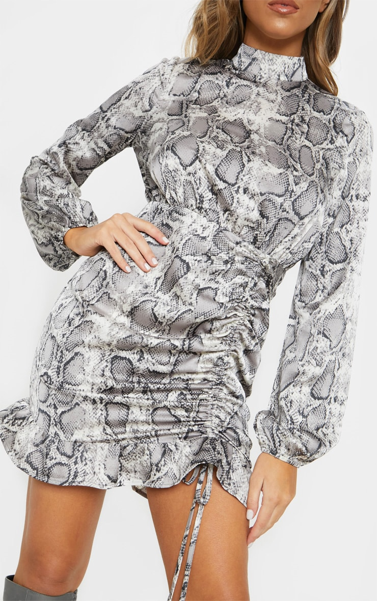Grey Snake Print Satin High Neck Ruched Bodycon Dress 5
