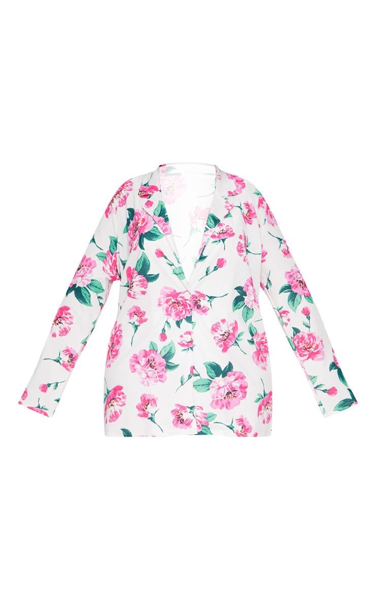 Plus White Floral Oversized Blazer 3