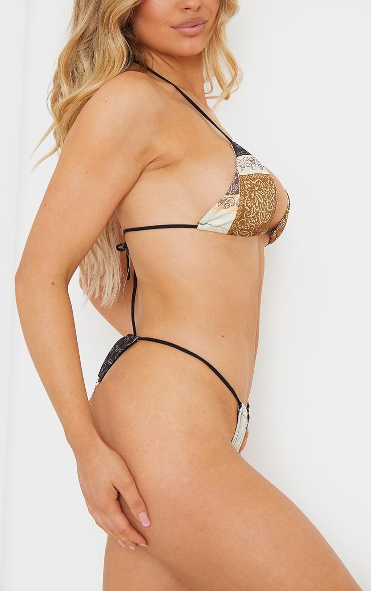 Brown Bandana Triangle Bikini Bottoms 2