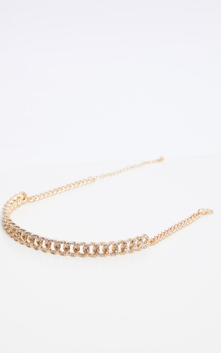 Gold Pave Solid Link Chain Choker 3