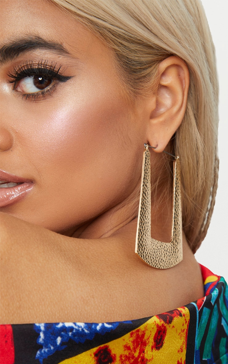 Gold Square Textured Hoop Earrings 2
