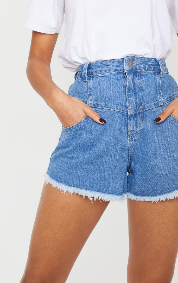 Mid Blue Wash High Waist Mom Fit Denim Shorts 5
