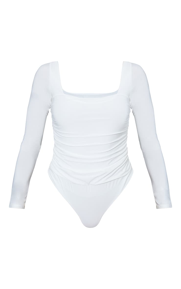 Cream Slinky Ruched Long Sleeve Square Neck Bodysuit 5