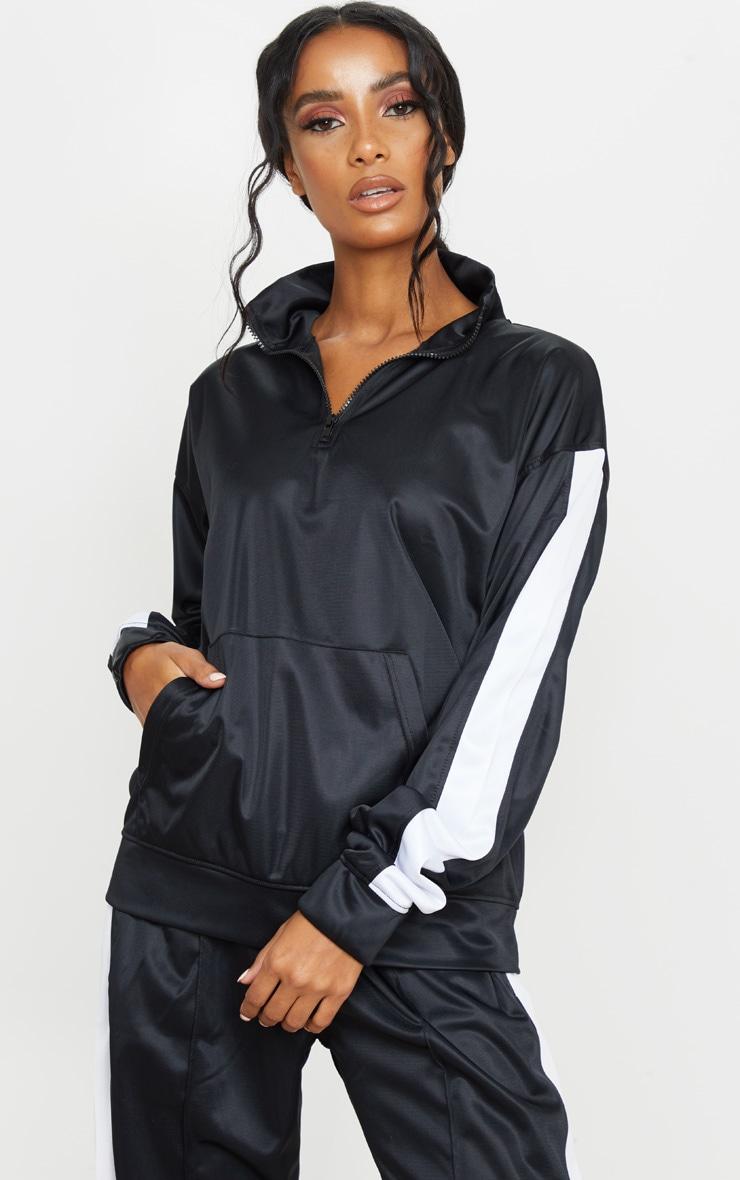 Sweat noir à bande latérale en tricot et col cheminée 1