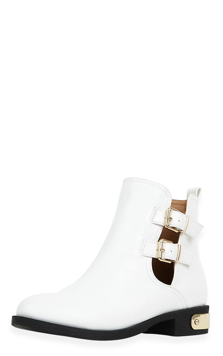 Juliet White Cut Out Ankle Boots-6 1