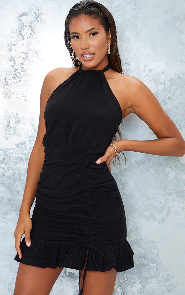Black Linen Look Halterneck Ruched Skirt Bodycon Dress 3