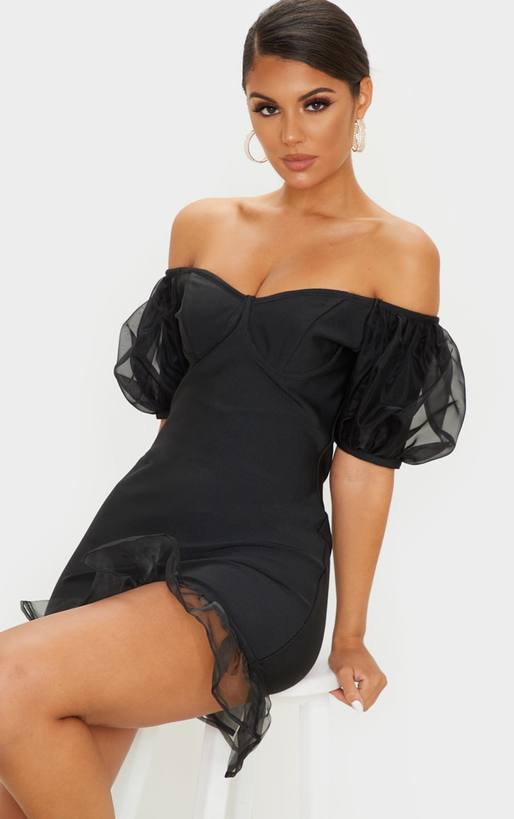 Black Bandage Chiffon Frill Puff Sleeve Bodycon Dress 5