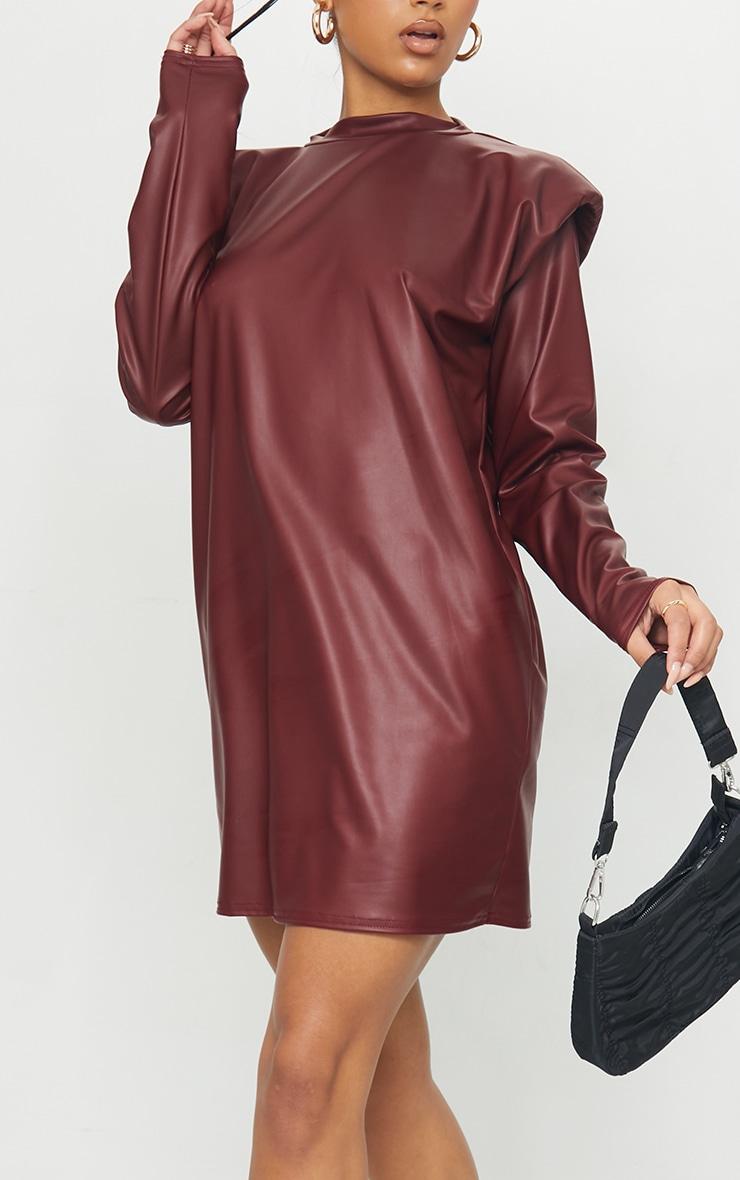 Burgundy Shoulder Pad Detail PU Jumper Dress 4