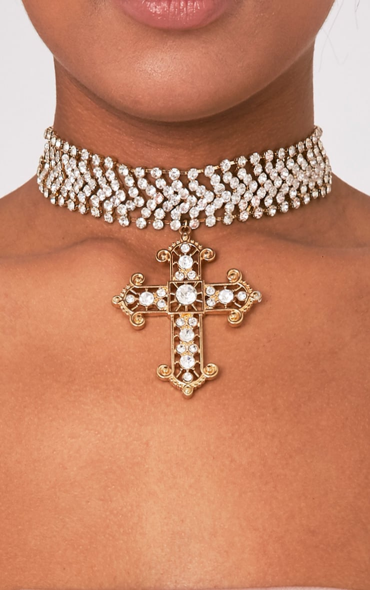 Ena Gold Diamante Detail Cross Choker 1