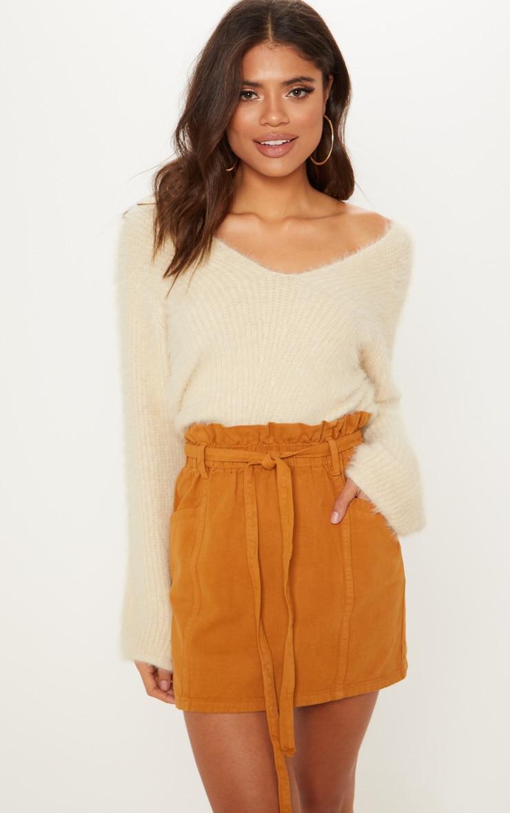 Tobacco Paperbag Waist Denim Skirt