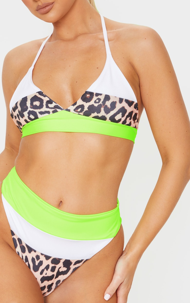 Leopard 3 Tone Tie Back Triangle Bikini Top 5