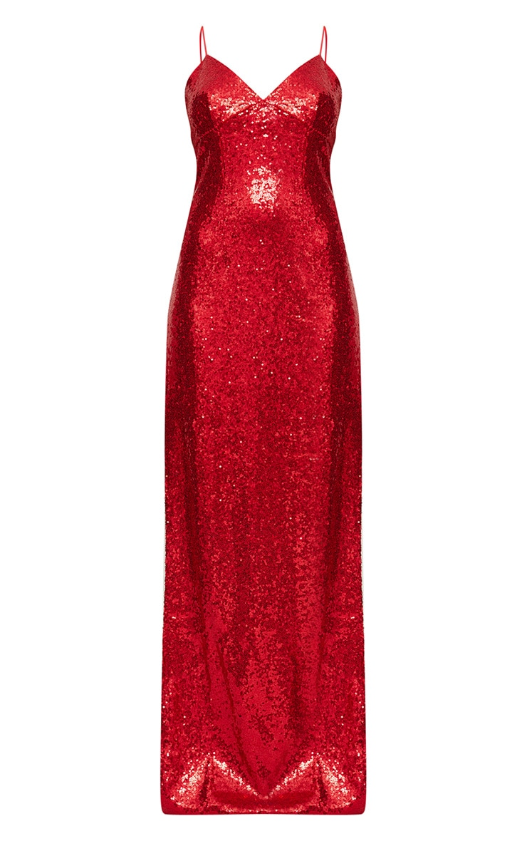 Red Sequin Extreme Split Plunge Maxi Dress 4