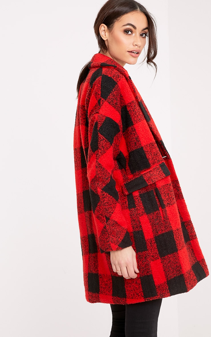 Stefanie Red Checked Oversized Coat 2