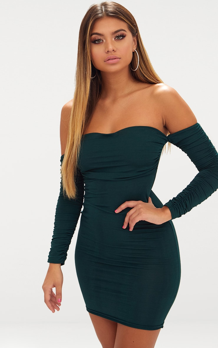 Emerald Green Ruched Front Ruched Arm Bardot Bodycon Dress 2