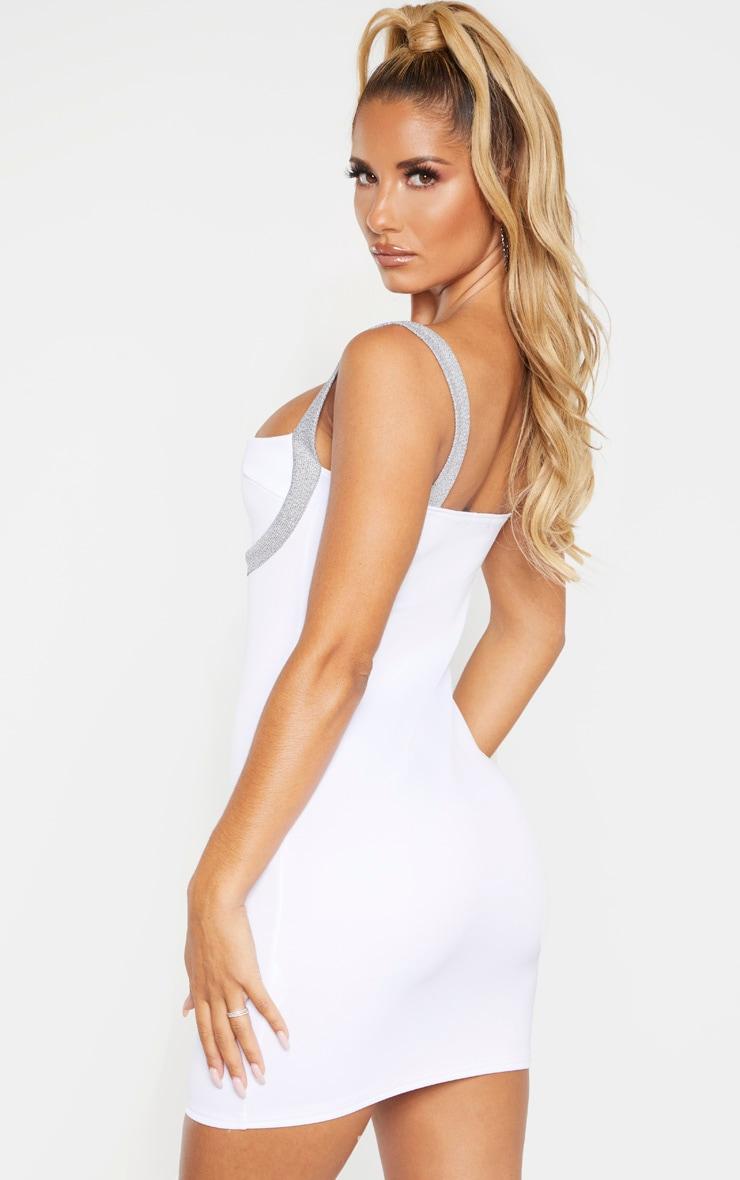 White Sleeveless Glitter Binding Bodycon Dress 2