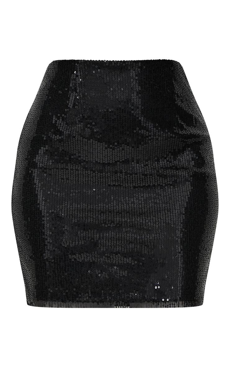 Black Sequin Mini Skirt 3
