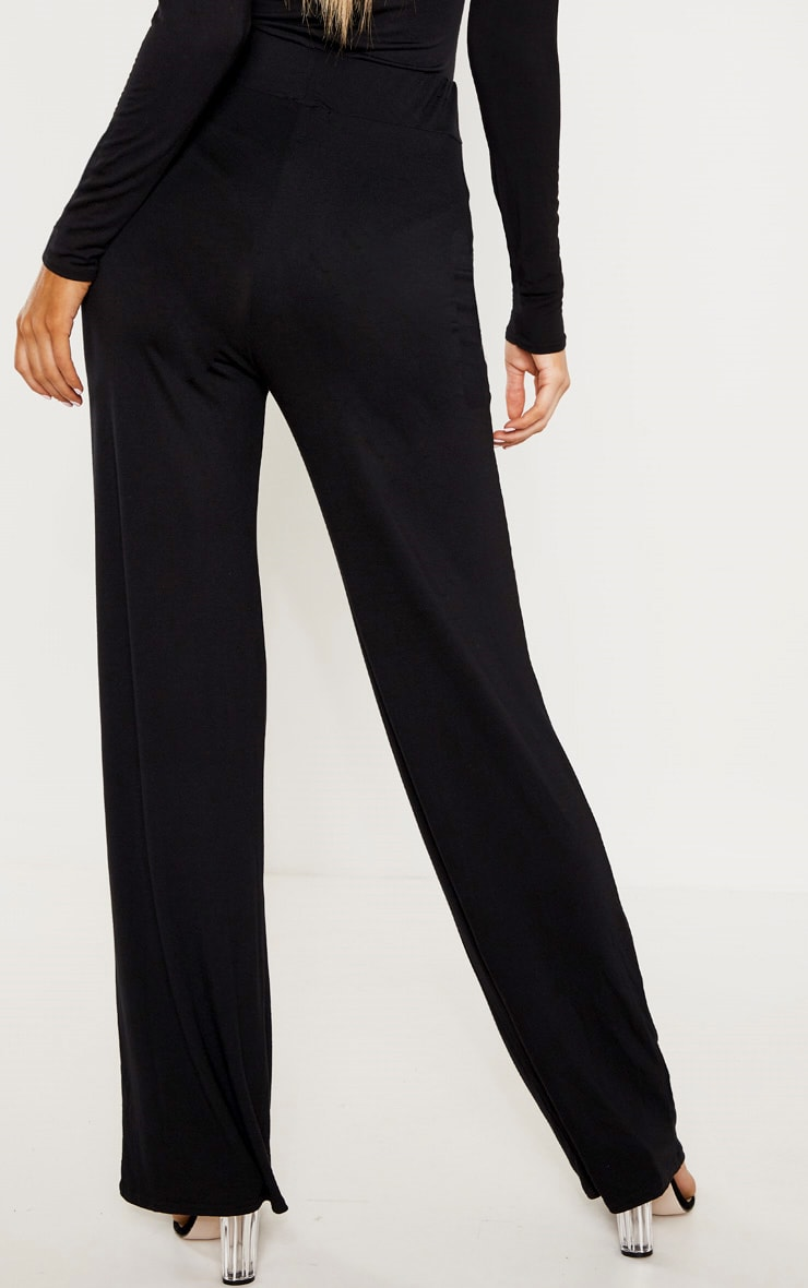 Tall Black Drawstring Jersey Wide Leg Jogger 4