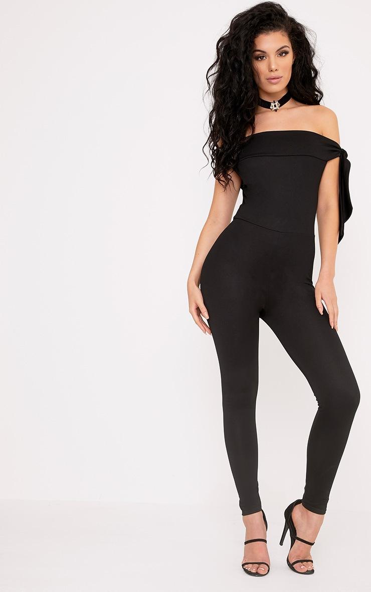 Lanesha Black Crepe Bardot Tie Jumpsuit 1