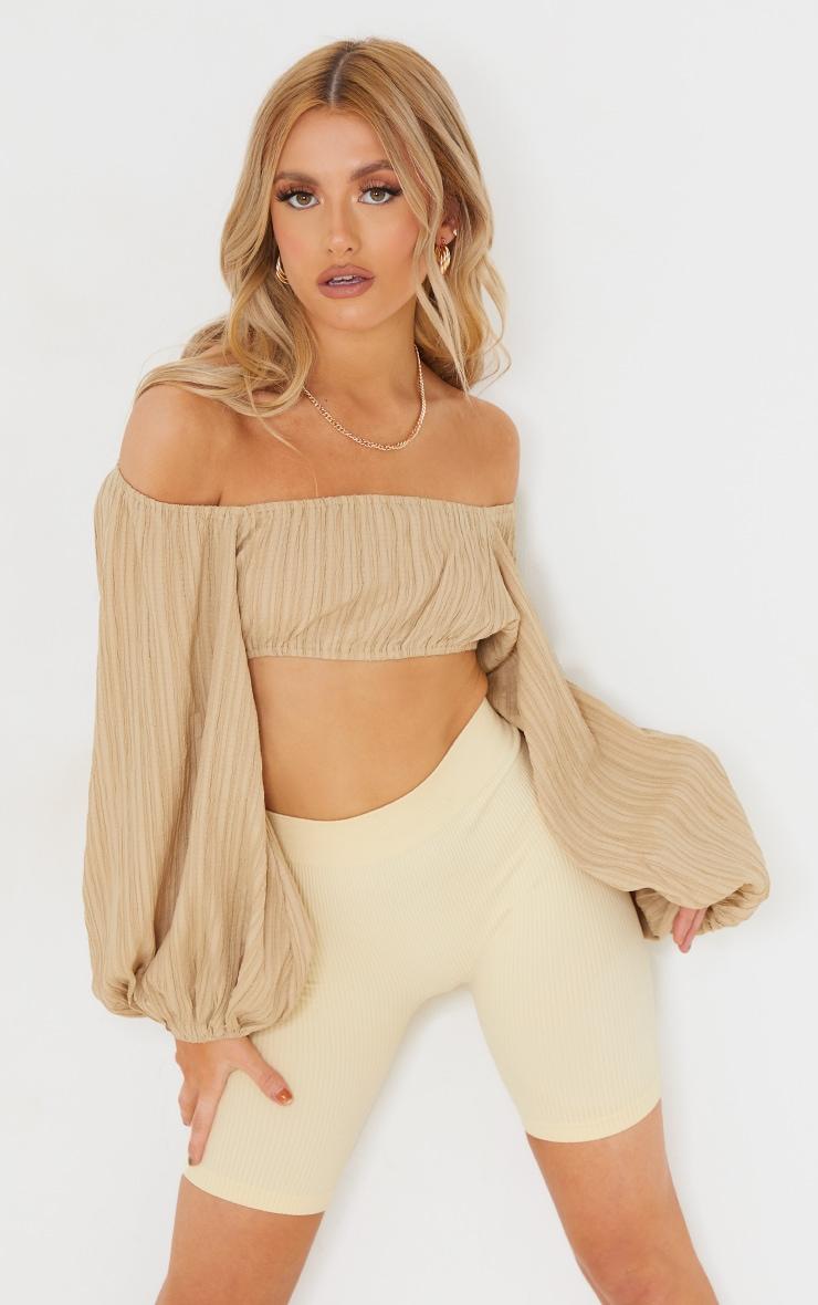 Camel Linen Look Pleated Oversized Off Shoulder Crop Top 1