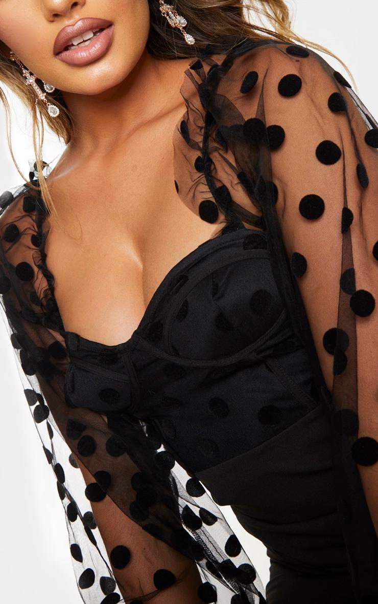 Black Polka Dot Mesh Cup Detail Ruched Dress 4