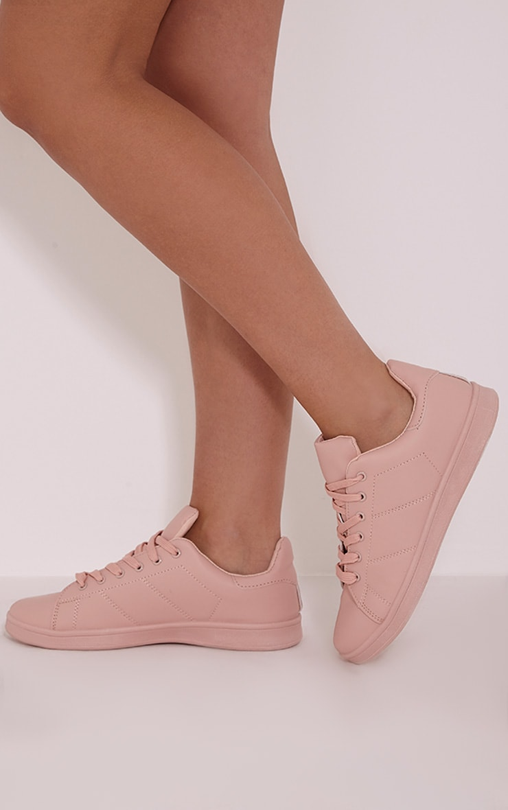 Chari Nude Casual Lace Up Trainers 1