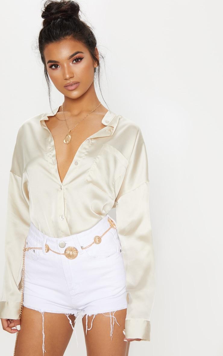 Champagne Grandad Collar Satin Shirt 1