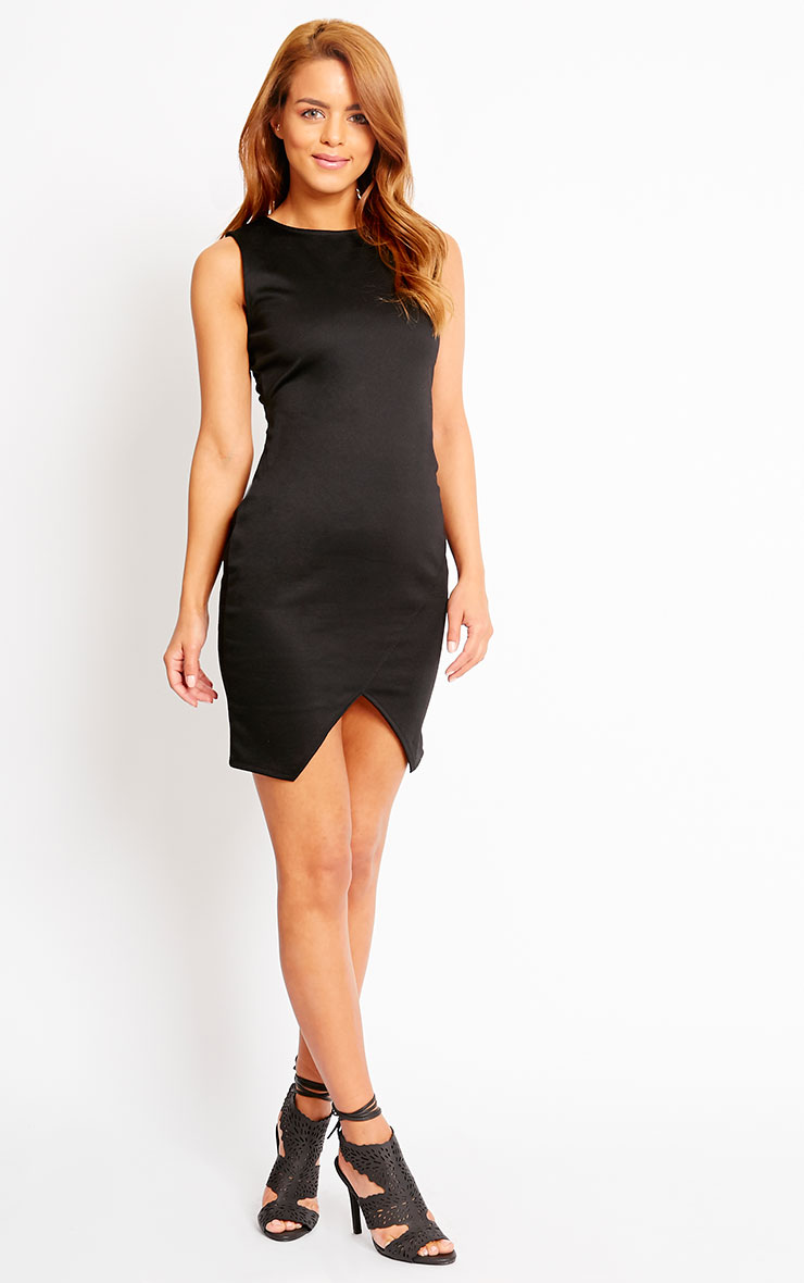 Ahana Black V-Front Hem Mini Dress 3