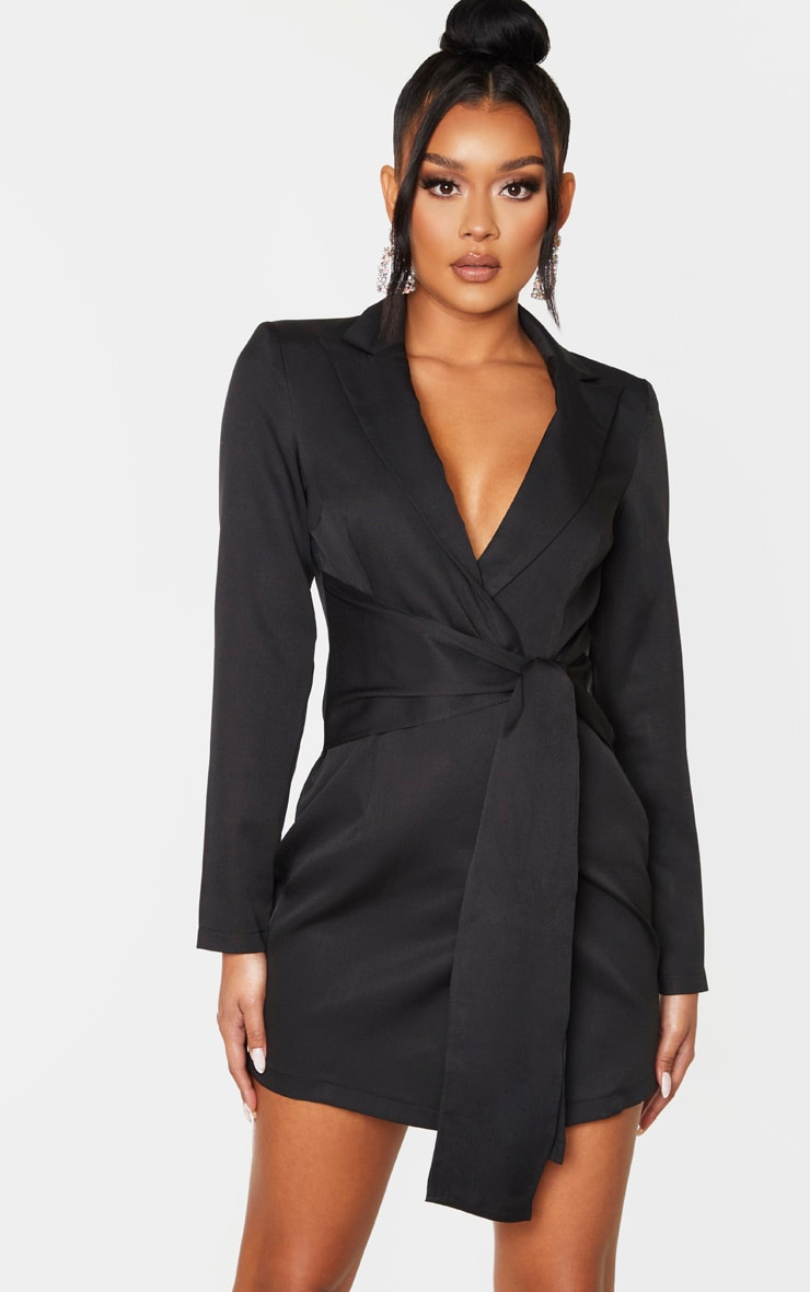Black Wrap Detail Blazer Dress 1