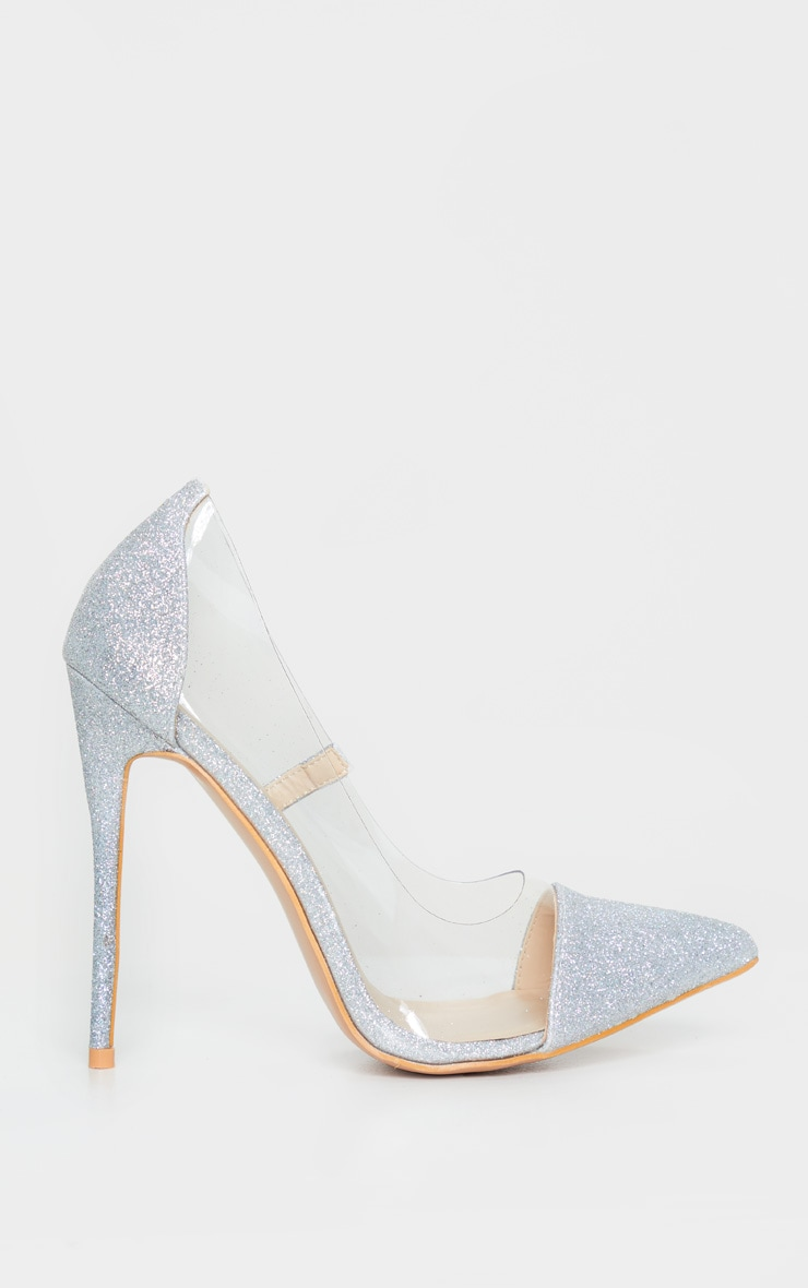 Silver Glitter Clear Court Shoes 4