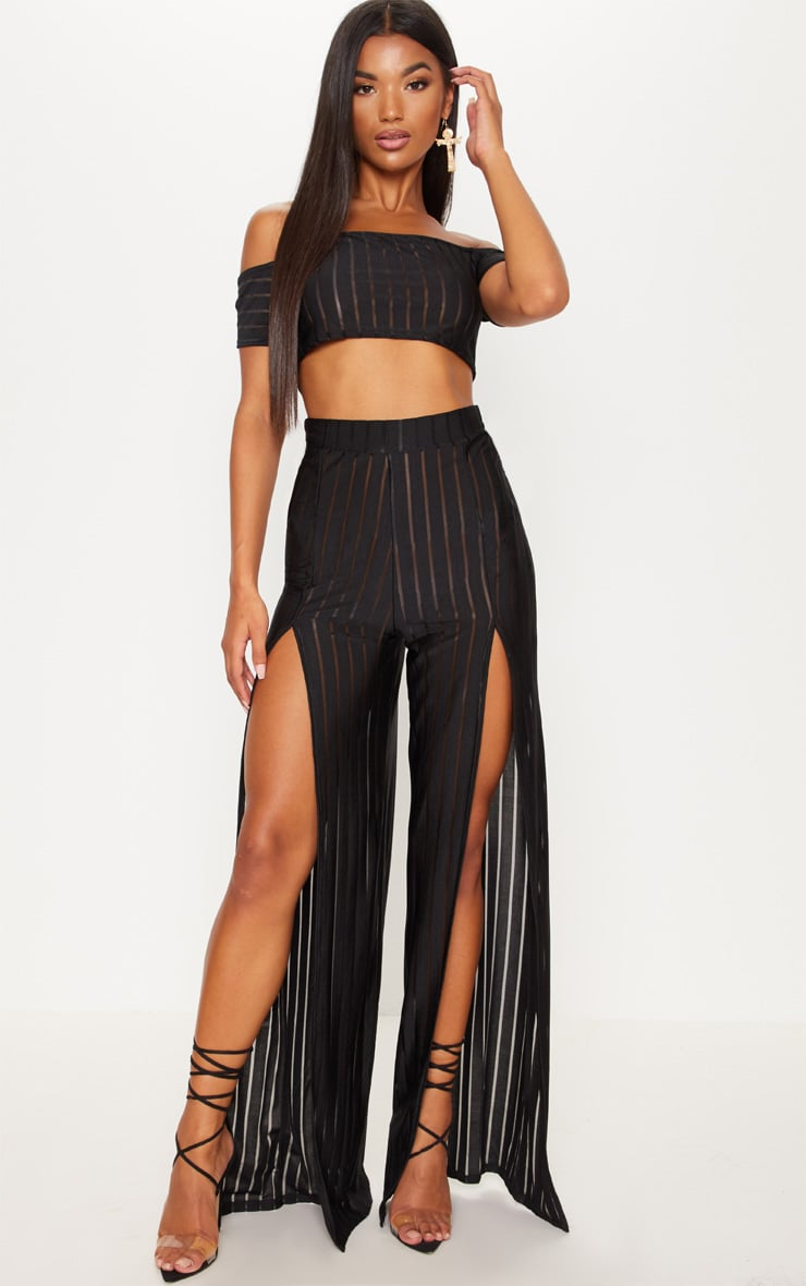 Black Mesh Stripe Split Leg Trouser