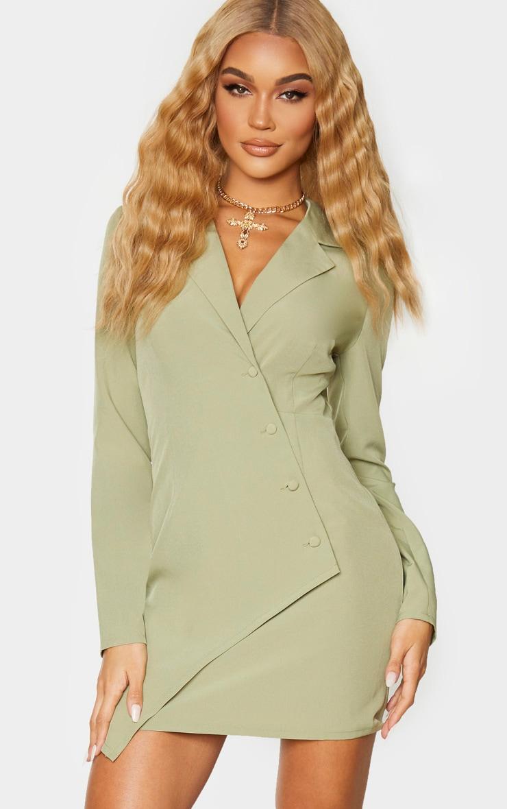 Sage Khaki Button Detail Wrap Blazer Dress 1