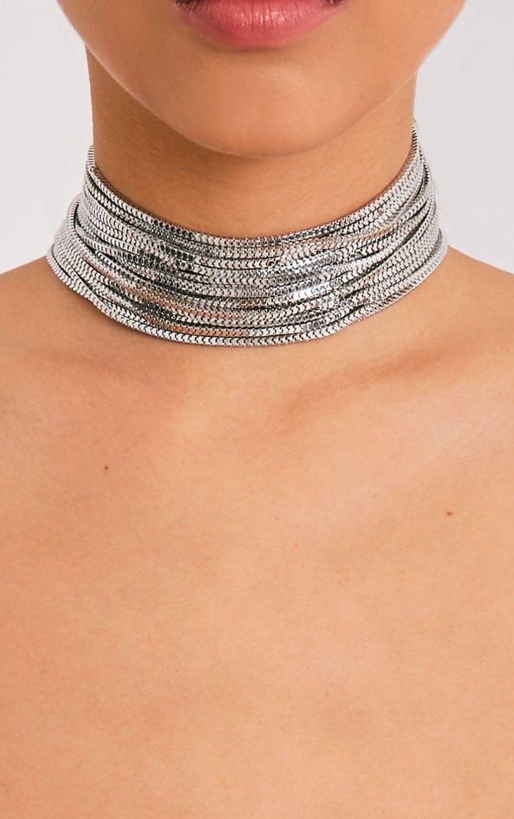 Kiki Silver Multi Row Choker   Jewellery     PrettyLittleThing USA