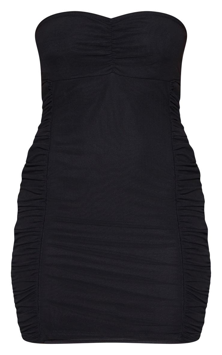 Black Mesh Bandeau Ruched Detail Bodycon Dress 3