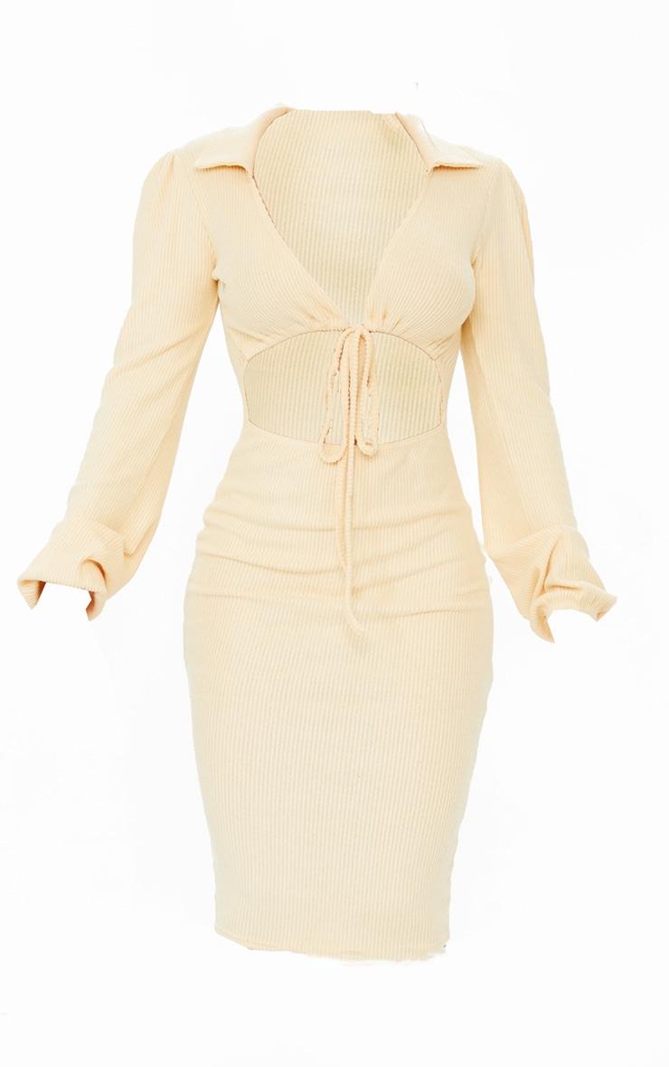 Stone Brushed Rib Collar Detail Cut Out Midi Dress 5