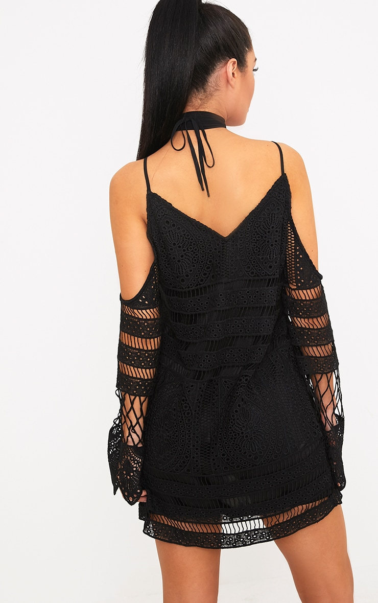Nina Black Lace Cold Shoulder Tie Neck Shift Dress 2