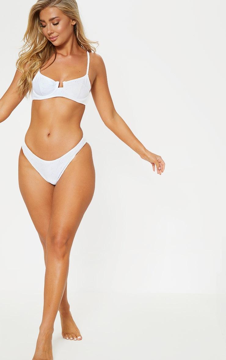 White Broderie Mini Front Bikini Bottom 5