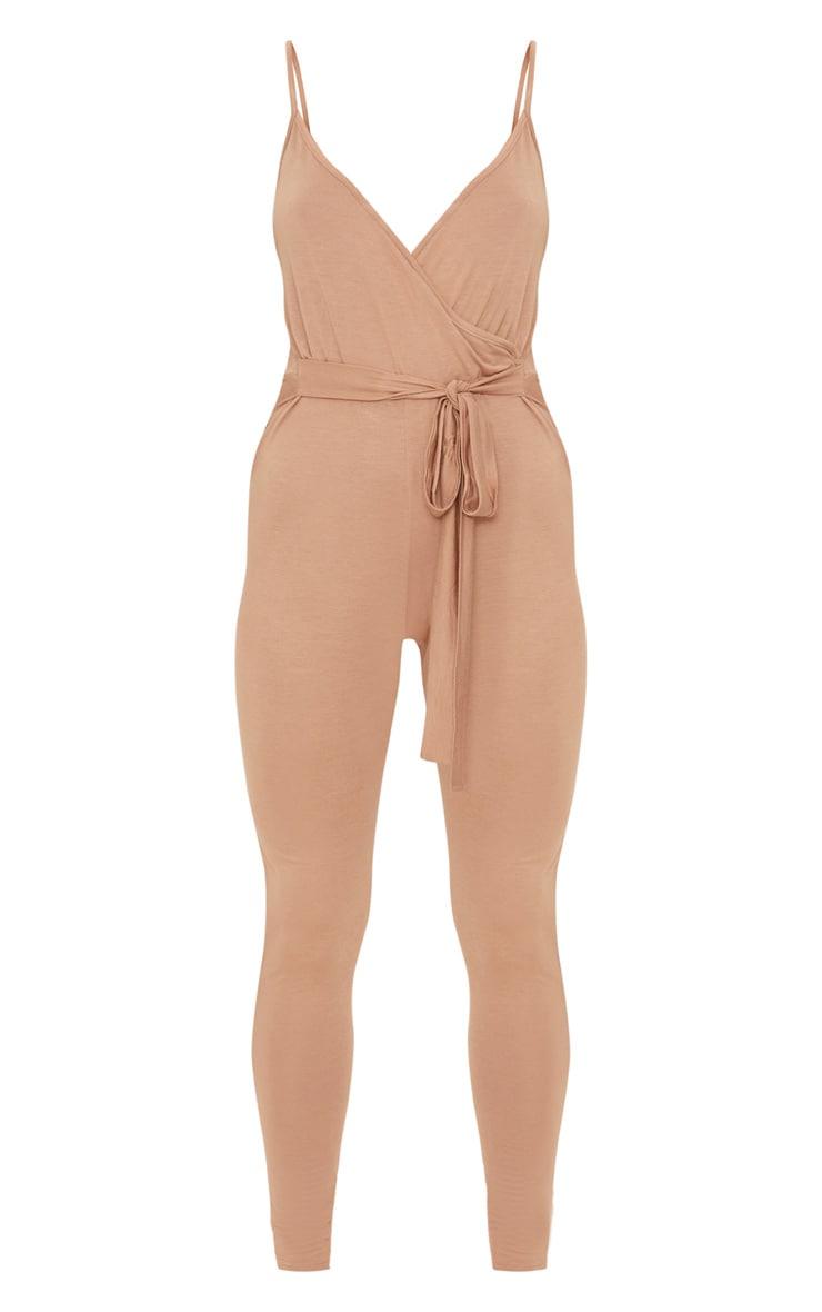Camel Strappy Jersey Wrap Tie Waist Jumpsuit 3