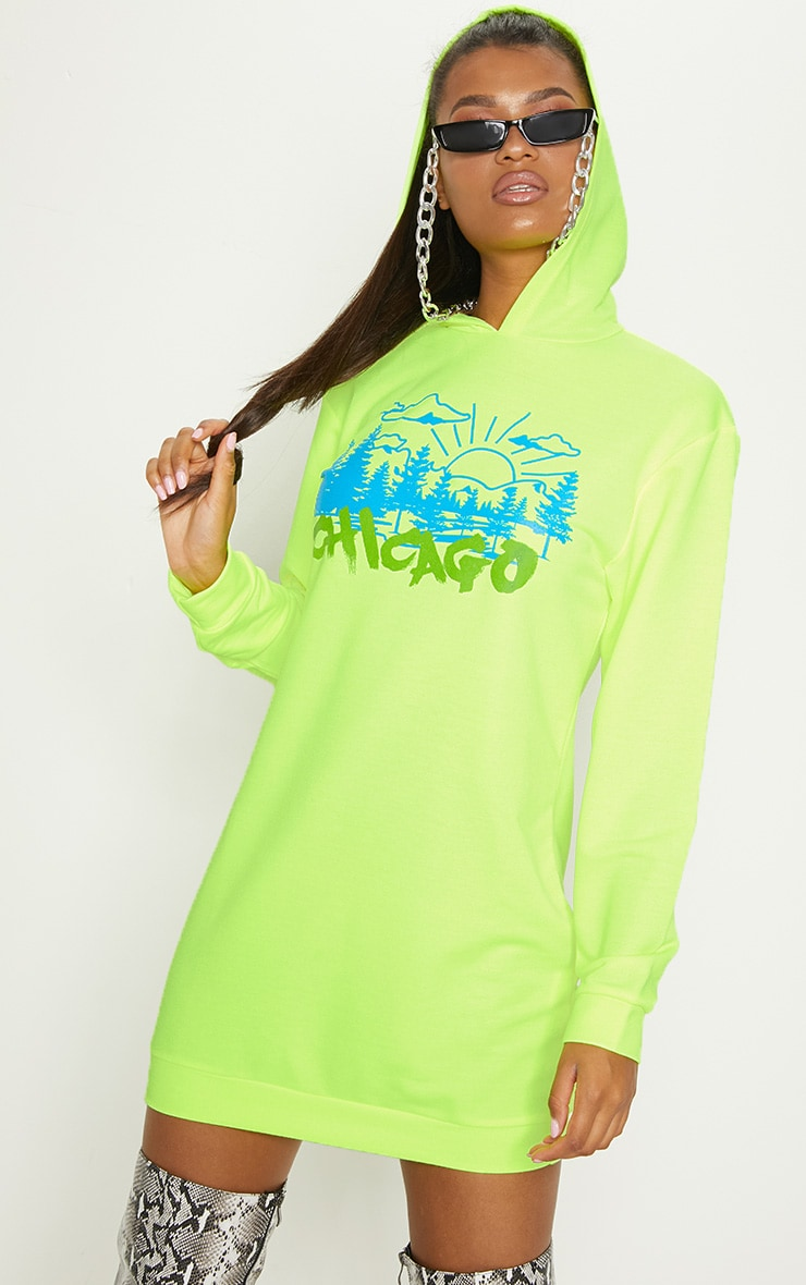 Neon Yellow Slogan Oversized Jumper Dress