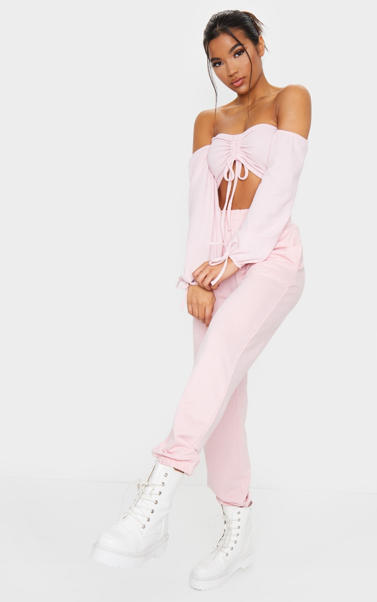 Baby Pink Ruched Detail Bardot Long Sleeve Crop Top 3