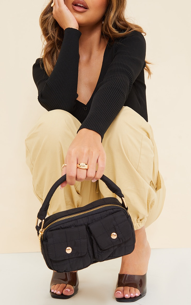 Black Pocket Quilted Cross Body Bag 1