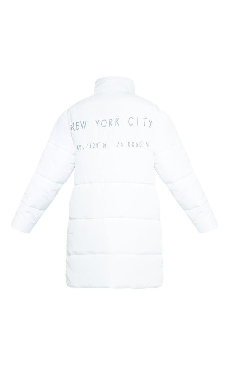 White Slogan Midi Oversized Puffer Coat 6